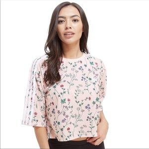 adidas Love Pastel Floral Embroidered Crop Top